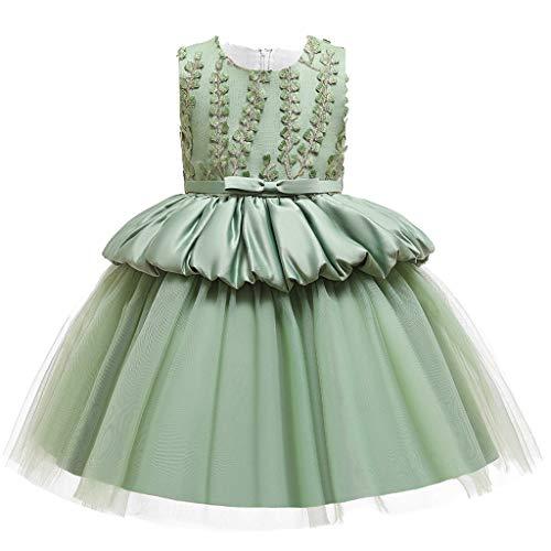 Heetey Vestido de niña con flores de princesa, dama de honor, fiesta de cumpleaños, vestido de novia, sin mangas, con tutú bordado, vestido de princesa con flores A_verde. 120 cm