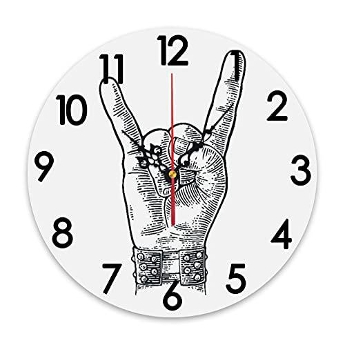 ZORMIEY Reloj de Pared Redondo con batería, Letrero de Mano de Rock and Roll, Pulsera con Pinchos de Metal, Que le da el Gesto de los Cuernos del Diablo, sin tictac, Decorativo para Cocina, Sala de e
