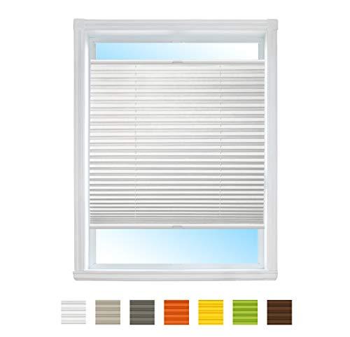 Plissee NACH MAß mit Klemmfix Rollo Jalousie, Easyfix klemmträger ohne Bohren verspannt/Faltrollo für Fenster/Farbe & Größe wählbar (Weiß, Breite: 35-40cm, Höhe: 70-90cm)