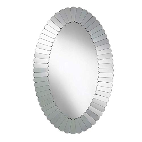 ZHAOJYZ Household badkamerspiegel van zilver, decoratief, wandspiegel, wandmontage, spiegel, ovaal, spiegel om op te hangen