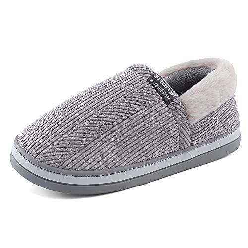 LACOFIA Pantofole Chiuse da Uomo Ciabatte Invernale per Adulti Scarpe da Casa Calde con Suola Antiscivolo per Interni/Esterni Grigio 42/43