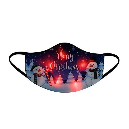 Bumplebee Erwachsene Halstuch Mundschutz Weihnachten LED Licht 3D Druck Bandana Maske Multifunktionstuch mit Motiv Mehrweg Atmungsaktiv Mund und Nasenschutz Damen Herren (Mehrfarbig M, One size)