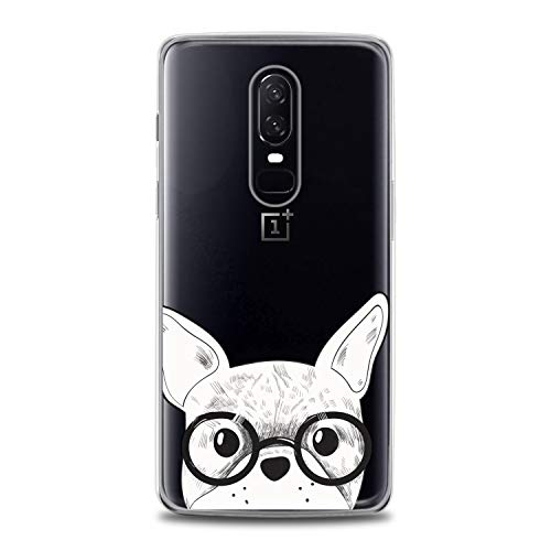 Anreda TPU Case Compatible for OnePlus 9 Pro 8T 7T 6T 5T One+ Nord N10 5G N100 Cover Print Bulldog Cute French Dog Soft Graphic Clear Slim fit Cute Flexible White Glasses Design Smart Smooth Animal
