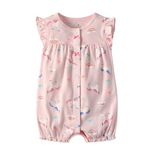 Baby Meisjes Rompers Korte Mouwen Pyjama Katoen Jumpsuit Zomer Bodysuit Cartoon Outfit 3-12 Maanden