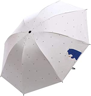 ZYSWP Sunny and Rain Dual Use Folding Umbrella, Portable Lightweight Weatherproof Umbrella (Color : White)