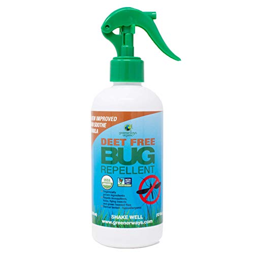 Greenerways Organic Deet-Free Bug Spray | Kid Friendly Natural Mosquito Repellent USDA Organic, Non-GMO | Bug Repellant Spray for Adults, Kids, Dogs | Clothing Safe, Kid Safe, Pet Safe, Baby Safe 12Oz