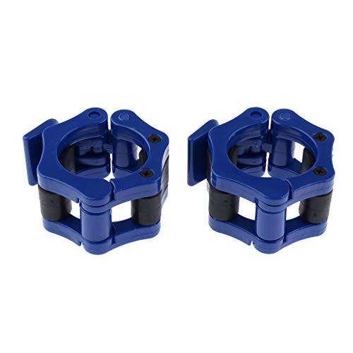 FLAMEER Barbell Collar Halsbänder Hantelverschlüsse Hantelstangen Hantel Klemmen Verschluss Schnellverschlüsse - Blau, 28mm