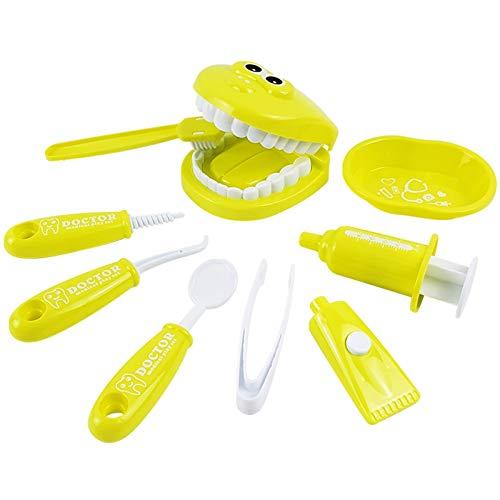 ZqiroLe - Set di giocattoli educativi dentali per bambini, 9 pezzi, per insegnamento prescolare e spazzolatura, kit dentista, per bambine e ragazzi, colore: giallo