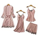 Kytrun 2 pcs Pajamas Sleep Set Womens V-Neck Cami Sexy Lace Bathrobe Strap Top Short Pants Nighty Robe Gown Suit Summer Sleepwear Pink Set A L