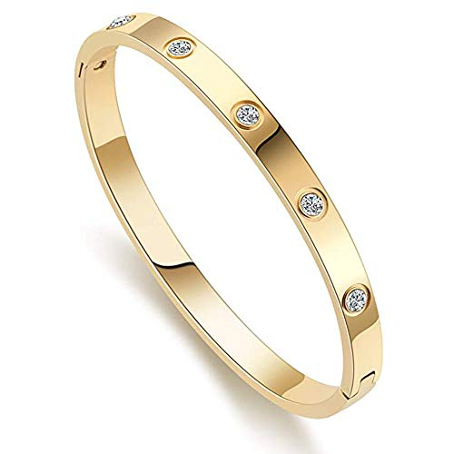 XYZONE Bangle Bracelet Oval with Stone Stainless Steel Hinged Love Jewelry with Crystal Bracelets Present for Women Teen Girls (Gold, 17)
