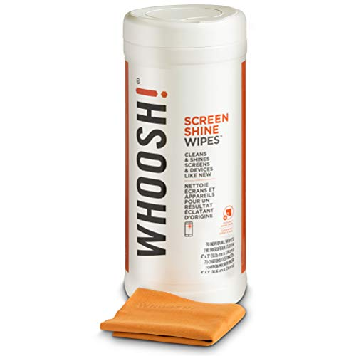 WHOOSH! Electronic Wipes,Screen Cleaner Wipes - For All Screens and Tech Devices ;Smartphones, iPads, Eyeglasses, e-Readers, Touchscreen & TVs (70 Ct W/Mini Cloth)