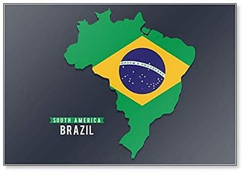 Karte von Südamerika. Politische Karte von Brasilien mit Fahne Kühlschrankmagnet