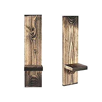 Local Beavers Decorative Wall Holders and Candles Sconces Wooden Wall Mounted Hanging Shelves - Set of 2  Distressed Walnut/Rustic