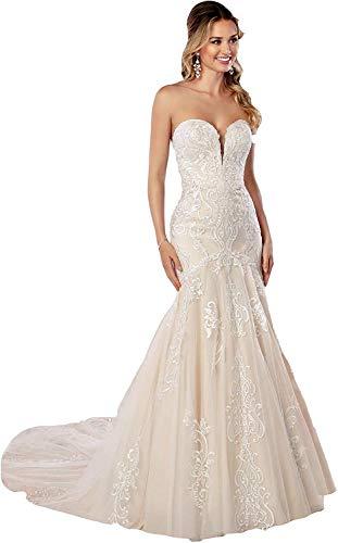 CGown Damen Sweetheart Ausschnitt Spitze Meerjungfrau Hochzeitskleider für Braut mit Zug Ärmellos Brautkleid Gr. 30, weiß