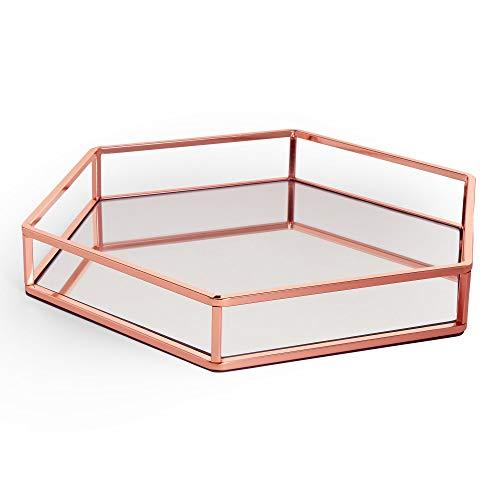 Beautify Roségold Tablett - Verspiegeltes Tablett - Dekoratives Tablett - Ausstellungs-Tablett - Parfüm-Tablett - Schmink-Tablett - Kosmetik-Tablett - Verspiegeltes-Glass-Tablett