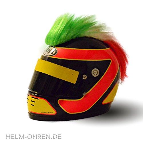 Helm - Irokese für den Motorradhelm, Skihelm, Snowboardhelm, Fahrradhelm oder Kinderhelm - Coole Helmdeko/Irokesenaufsatz - Helmirokese Punk Iro (Italien - Grün-Weiß-Rot)