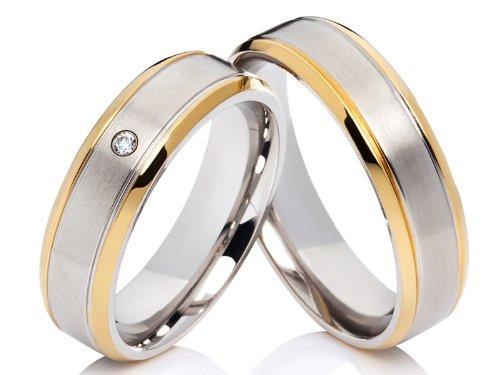 2 Hochzeitsringe Trauringe Eheringe Verlobungsringe aus Edelstahl im Set & kostenlose Gravur
