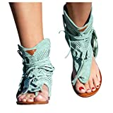 2021 New Tassel Sandals for Women,Womens Casual Retro Bohemian Gladiator Fringe Sandals Flat Clip Toe Ankle Boots Beach Shoes T-Strap Roman Open-Toe Sandals (Green,42)