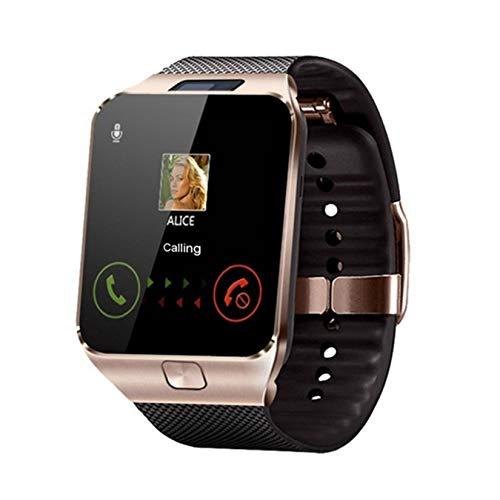 LORIEL Smart Watch-Smart Reloj, Soporte TF/SIM/Cámara Hombres Mujer Sport Bluetooth Wristwatch, Adecuado para Teléfonos Inteligentes,Oro