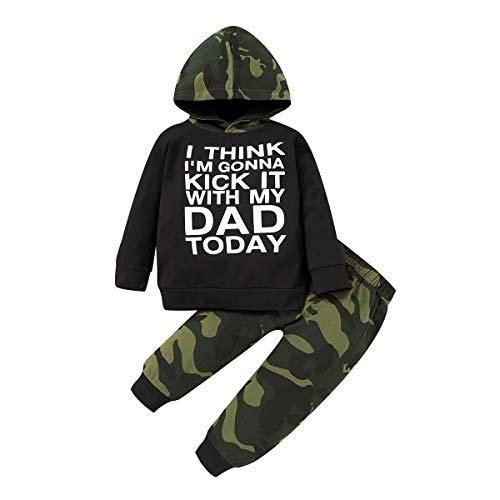 Conjunto de moletom infantil infantil com capuz e manga comprida Lil' King + calça de camuflagem para outono, Letter-front, 12-18 Months