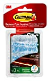 Command 17301CLRAW-ES Outdoor Rope Light Clips, Clear, Decorate Damage-Free, White, 12 Clips