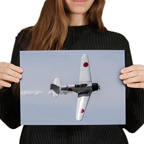 Destination Vinyl Posters A4 - Mitsubishi Zero Fighter Plane Pilot Art Print 29.7 X 21 cm 280gsm Satin Gloss Photo Paper #24467