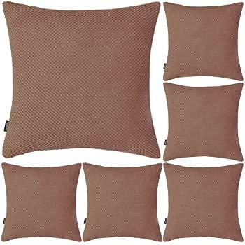 Coddsmz Juego de 6 fundas de almohada decorativas de pana suave y sólida, fundas de almohada decorativas, fundas de almohada, fundas de cojín cuadradas para el sofá del hogar (marrón, 45 x 45 cm)