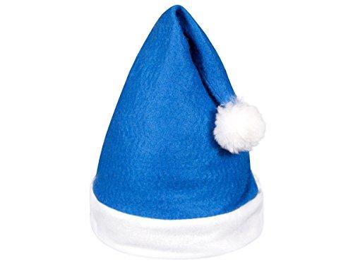 Alsino Weihnachtsmützen blau Nikolausmütze Weihnachtsmann Mütze 12 Stück Set Premium Kuschelweich Samt (wm-31) Kein Kratzen blau-weiß mit Bommel