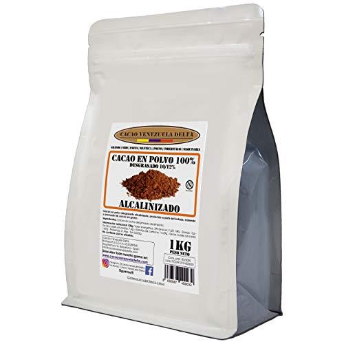 Cacao en Polvo Puro 100% - Tipo Alcalinizado - Desgrasado 10-12% - Bolsa 1kg - Cacao Venezuela Delta