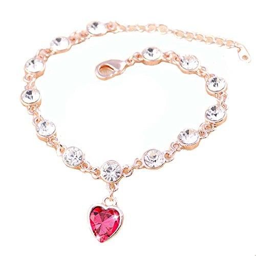 Bracelet main Bijoux Fashion Bracelet Améthyste en forme de coeur en or rose