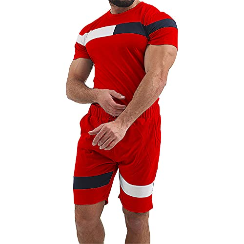 Traje Deportivo Hombre Ejercicio Deportivo Fitness Cuello Redondo Mangas Cortas Y Pantalones Cortos Camiseta De Verano para Hombre Transpirable Y Absorbente Dos Piezas E-Red XXL