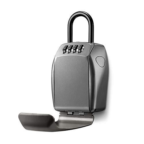 MASTER LOCK Schlüsseltresor mit Bügelhalterung [Large] [Wetterfest] [Bügel] - 5414EURD - Schlüsselsafe, Grau