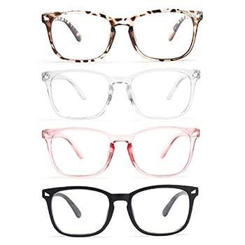 CCVOO 4 Pack Blue Light Blocking Reading Glasses Anti Headache/Glare/Eye Strain Readers Computer Eyeglasses Women/Men  Light Black & Leopard & Clear Pink & Transparent 1.0