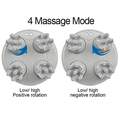 Electric Scalp Head Massager with 4 Removable Heads Attachments for Stimulating Hair Growth, Deep Clean& Stress Release, Waterproof Portable Massager for Head Neck Body