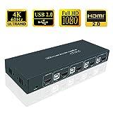 HDMI KVMスイッチ4ポートPC切替器、4K @ 60Hz、2 USB 2.0ハブ、ホットキースイッチ、下位互換性の低い解像度