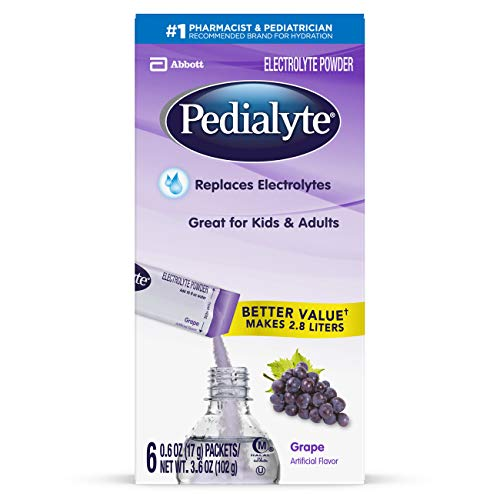 Pedialyte Electrolyte Powder, Electrolyte Drink, Grape, Powder Sticks, .6 Ounce, 3.6 Ounce (Pack of 1)