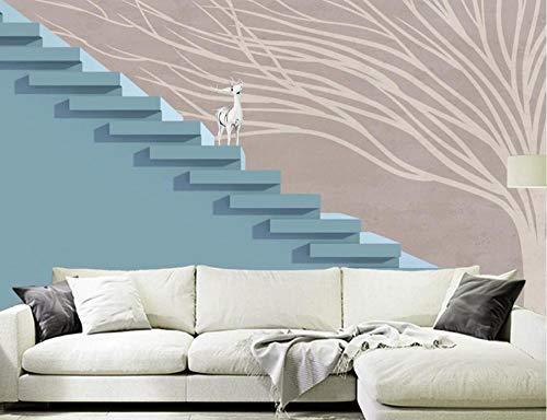 Papel Pintado Fotomurales 3D Escaleras Árbol Creativo Alce Salón Dormitorio Despacho Pasillo Decoración Murales decoración de Paredes Moderna 430x310cm