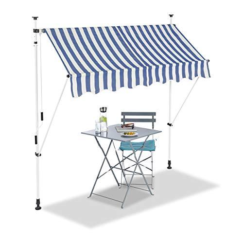 Relaxdays Klemmmarkise, Balkon Sonnenschutz, einziehbar, Fallarm, ohne Bohren, verstellbar, 200 cm breit, blau gestreift