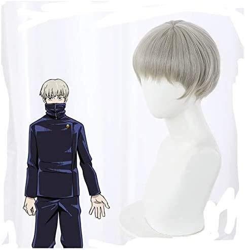 2021 la última peluca de cosplay de anime, Maki Zen'in/Yuji Itadori/Kugisaki Nobara/Toge Inumaki/Fushiguro Megumi para hombres y mujeres, accesorios de disfraz de Halloween (color: Toge Inumaki)