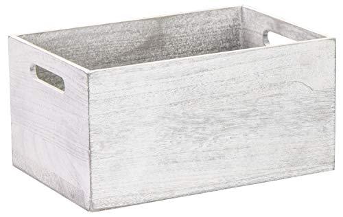 LAUBLUST Vintage Holzkiste mit Griffen - 30x20x16cm, Weiß, FSC® - Aufbewahrungskiste | Geschenkkorb | Deko-Kiste