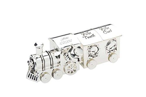 Versilberter Kinder-Zug für erste Locke & ersten Zahn mit Ihrer Wunsch-Gravur von Geschenkbox®