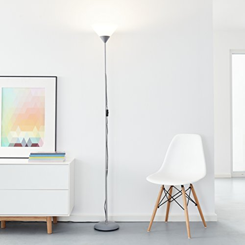 Piantana classica a LED, con 1 lampadina aLED/10 W E27 inclusa, 810Lumen, 2700K, luce bianca calda, metallo/plastica, colore: argento/bianco