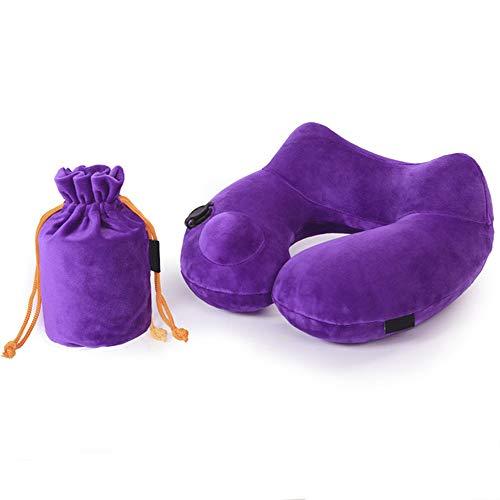 Zenshin Neck Pillow U Tipo di pressa Manuale Gonfiabile Cuscino con Custodia per Dormire Comfort Supporto Lombare Cuscino per Ufficio di Viaggio casa Campeggio Auto Bambini Donne Uomini,Purple