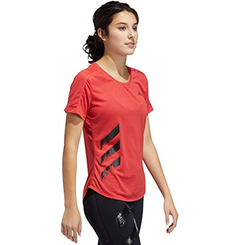 adidas Damen T-Shirt Run IT 3-Streifen, Glored, M, FR8387