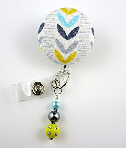 Liney Leaves - Nurse Badge Reel - Retractable ID Badge Holder - Nurse Badge - Badge Clip - Badge Reels - Pediatric - RN - Name Badge Holder