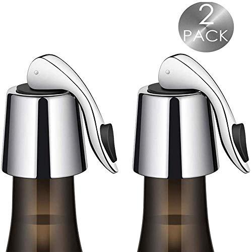 Wijnfles Stopper, Herbruikbare RVS Wijn Saver met Silicone, Praktische Wijnpomp Vacuüm, Keeping Wijn Verse en Beste Gift Accessoires (2 Pack)