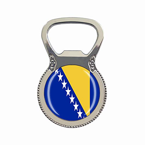 Flaschenöffner, Motiv: Bosnien & Herzegowina Flagge, Kühlschrankmagnet, Metall, Glas, Kristall, Reise-Souvenir, Geschenk, Heimdekoration