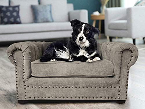 Cama de Perro Sillón Chester Gris Claro para Mascotas Minimalista de Lujo
