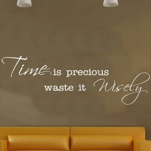 Wall Sticker - Time is Precious waste it Wisely... Wallart -SMALL -SIZE 60cm x 20cm -White by Windsor Designers