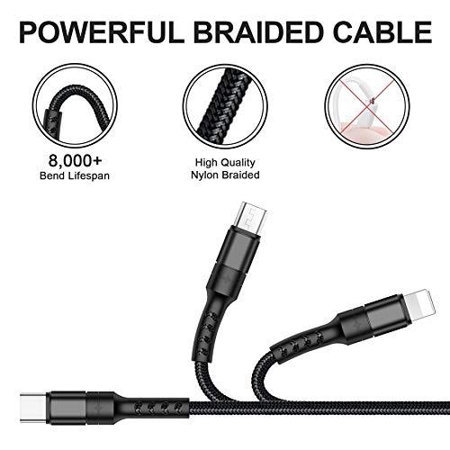 AVIWIS Multi USB Kabel 3 in 1 Nylon Mehrfach Ladekabel iP Micro USB Typ C Ladegerät Kabel für Android Galaxy S10 S9 S8 S7 S6 A3 A5 J5, Huawei, Honor, Oneplus, Xiaomi, Kindle, Echo Dot -Schwarz